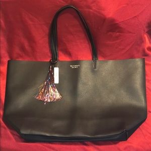 NWT VS Large Black Faux Leather Tote Bag w/ Tassel